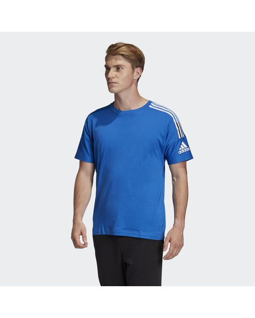 Adidas Blue Z.n.e. 3-stripes T-shirt for men
