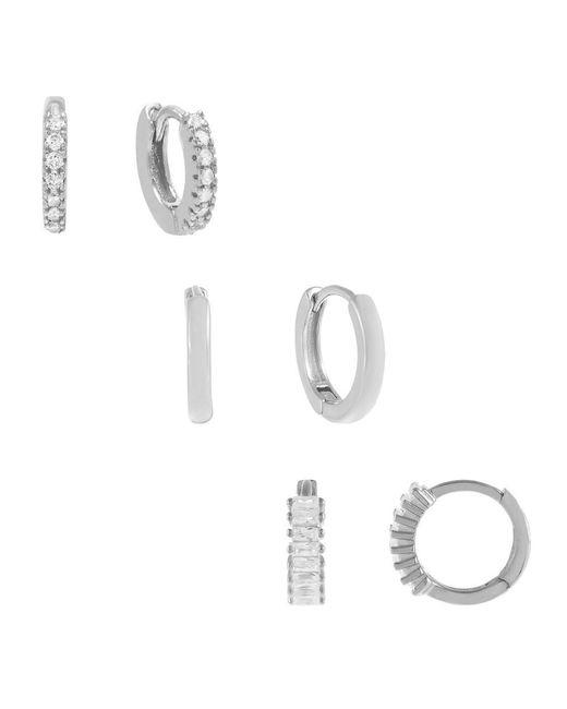 ADINAS JEWELS Metallic The Ultimate Huggie Earring Combo Set