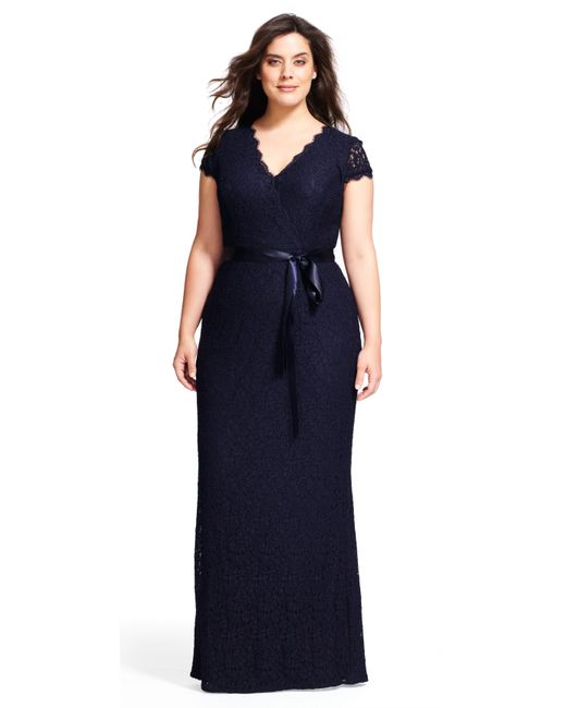 Adrianna Papell | Blue Shirred Jeweled Cocktail Dress (plus) | Lyst