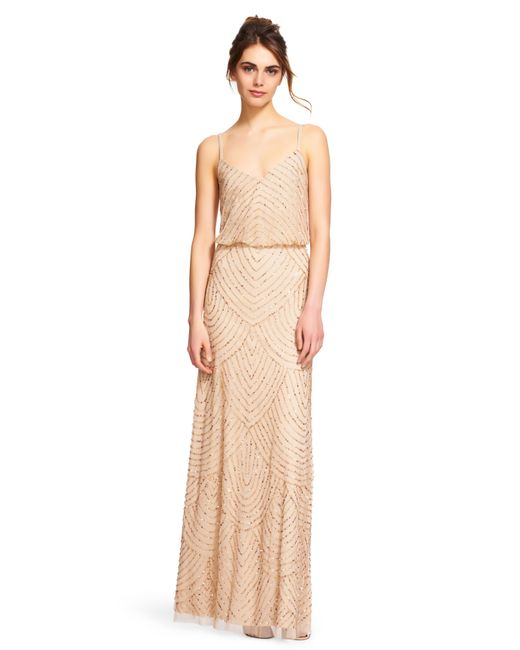 5f8322e3fbc22 ... Adrianna Papell | Metallic Art Deco Beaded Blouson Gown | Lyst ...