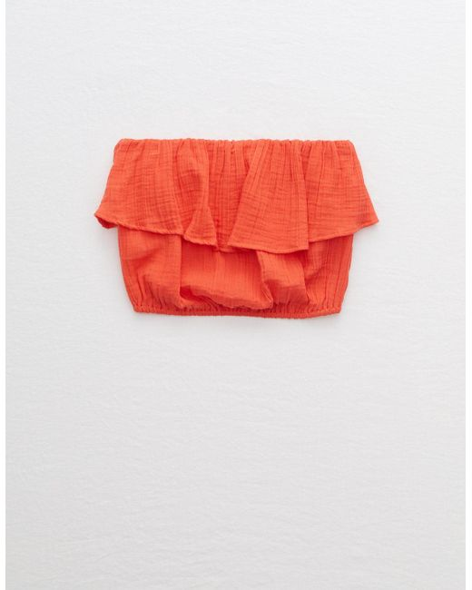American Eagle Red Woven Tube Top
