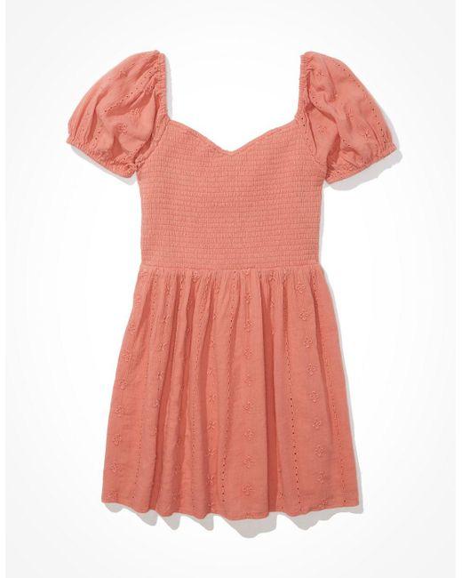 American Eagle Pink Solid Eyelet Puff-sleeve Mini Dress - Dresses - Women