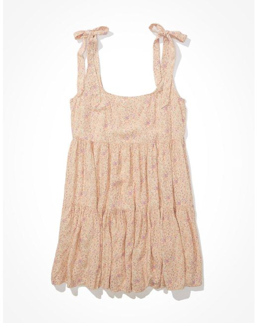 American Eagle Pink Floral Tie-strap Babydoll Dress - Dresses - Women