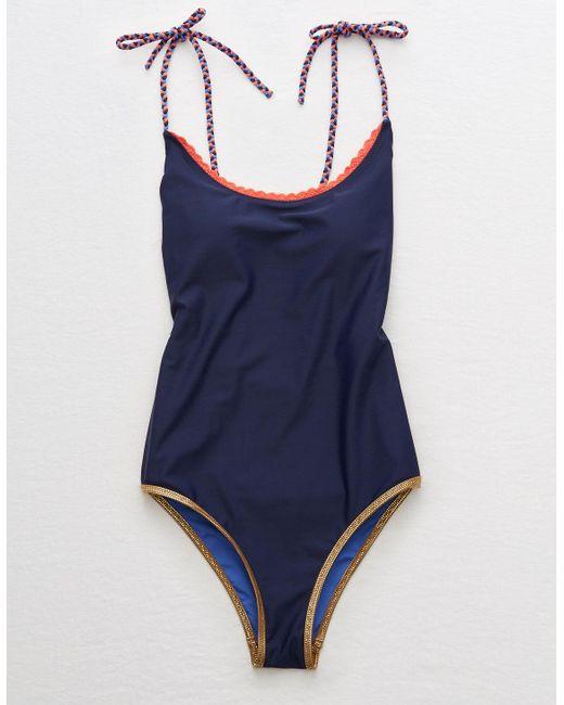 American Eagle Blue Crochet Trim One Piece Swimsuit
