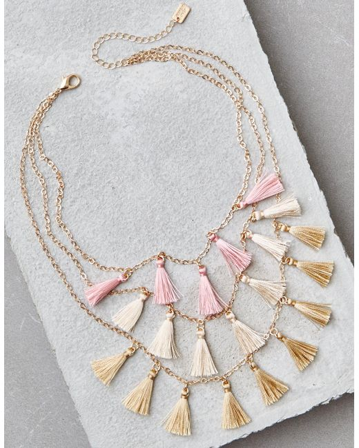 American Eagle - Metallic Ae Dangle Rings Necklace - Lyst