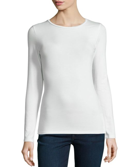 Neiman Marcus | Natural Soft Touch Crewneck Top | Lyst