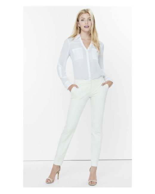 Express | White Low Rise Columnist Ankle Pant | Lyst