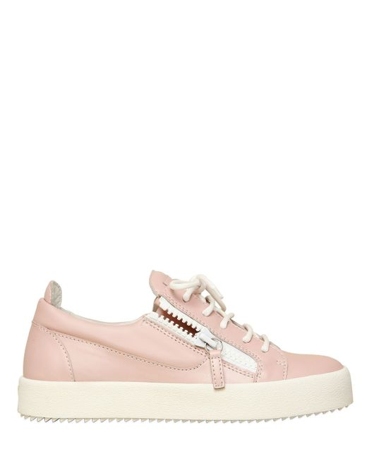 giuseppe zanotti 20mm rubberized leather sneakers in pink