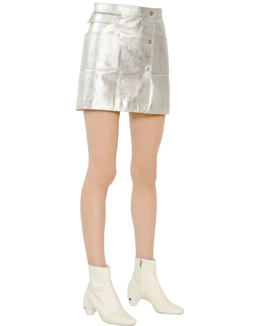 courreges metallic nappa leather mini skirt in silver