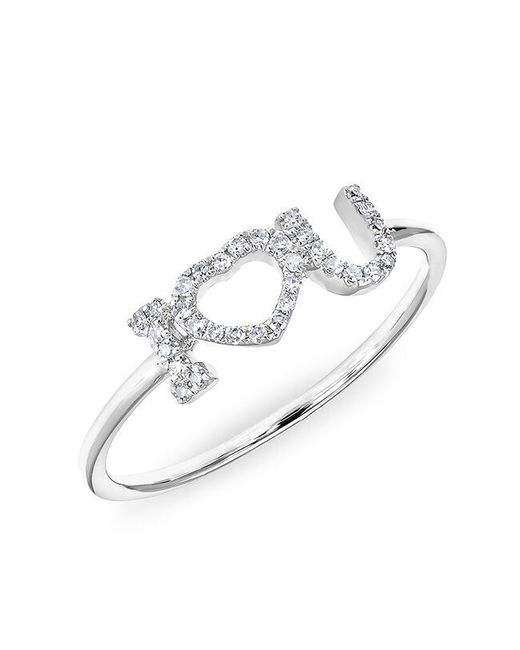 Anne Sisteron   Metallic 14kt White Gold Diamond I - Heart - U Ring   Lyst