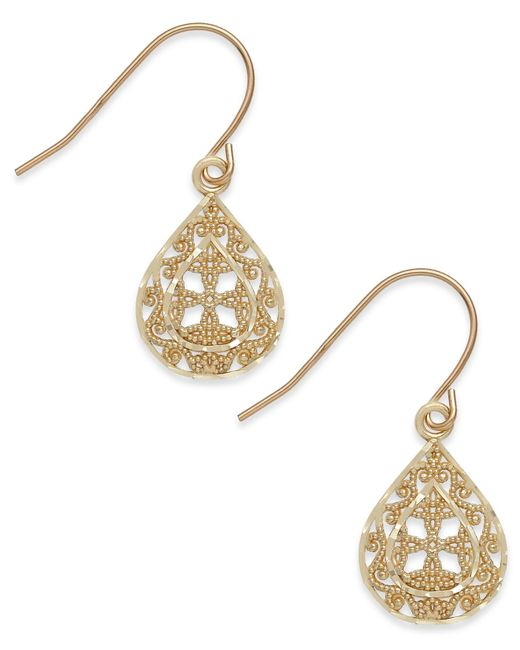 Macy's | Metallic Filigree Teardrop Earrings In 10k Gold | Lyst
