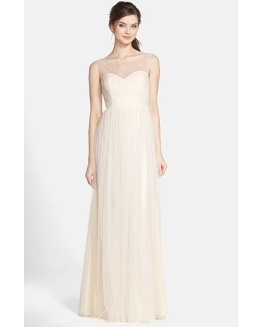 Jenny Yoo | Natural 'aria' Illusion Yoke Pleated Tulle Gown | Lyst