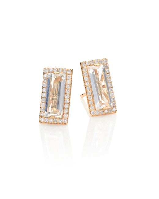 KALAN by Suzanne Kalan | Metallic Soleil White Topaz, Diamond & 14k Yellow Gold Baguette Stud Earrings | Lyst