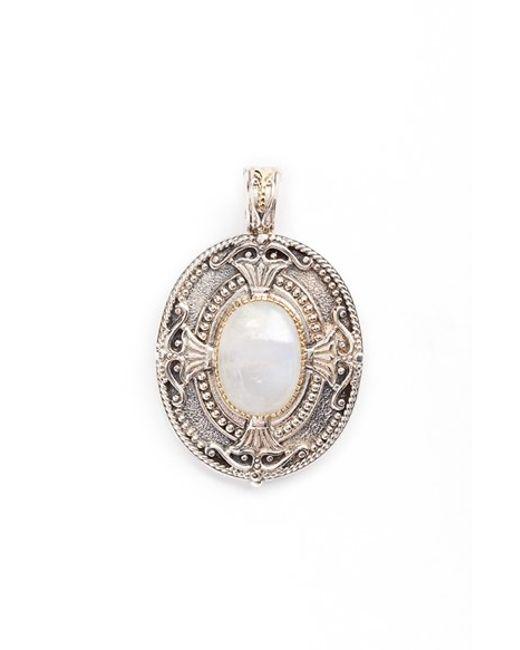 Konstantino | White 'erato' Oval Stone Pendant | Lyst