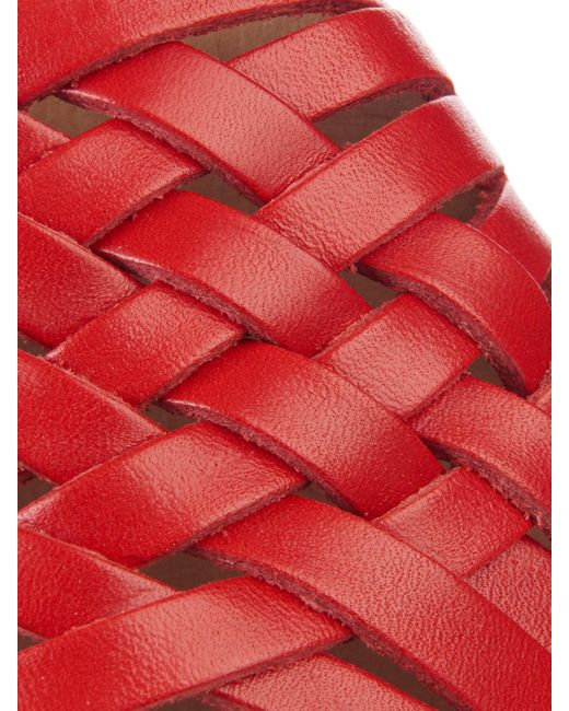 Funkis 150 Woven Leather Clogs In Red Save 61 Lyst