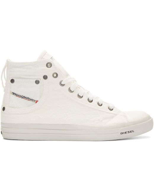 diesel white canvas exposure high top sneakers in white