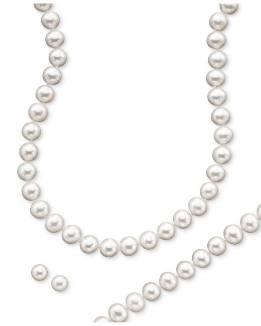 Macy's | Metallic Cultured Freshwater Pearl Necklace (8-9mm), Stud Earrings (7mm) & Bracelet (8-9mm) Set In 14k Gold | Lyst