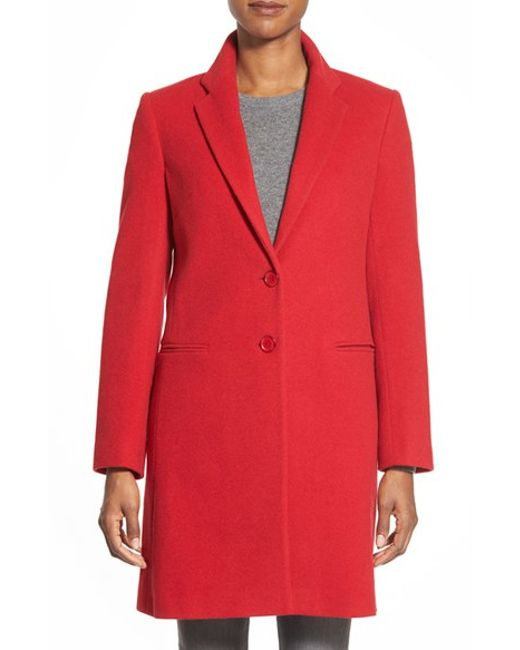 Helene Berman | Red Wool Blend College Coat | Lyst