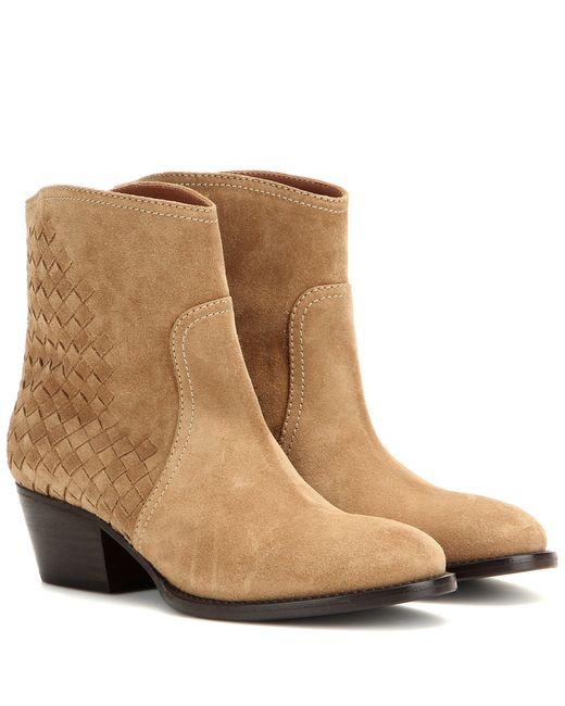bottega veneta suede ankle boots in beige save 41 lyst
