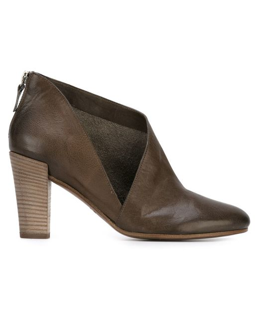 roberto carlo cut out ankle boots in brown grey