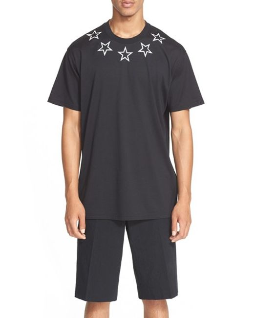 Givenchy 39 new star 39 graphic t shirt in black for men lyst for Givenchy 5 star shirt