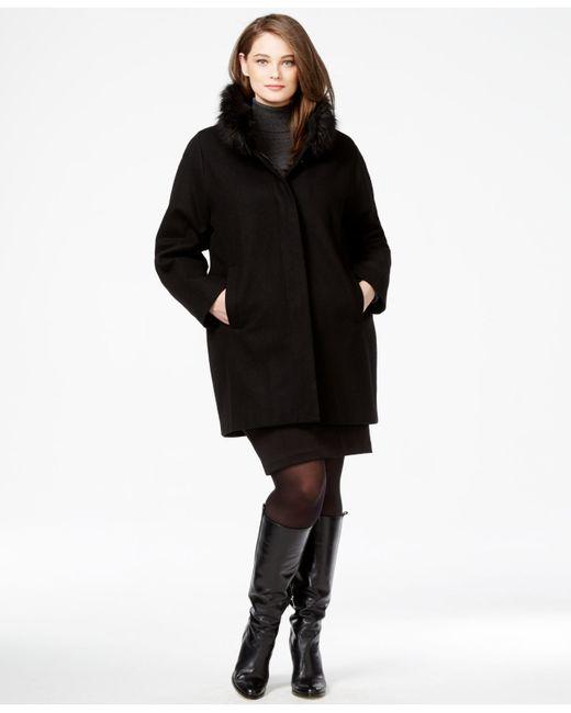 Jones New York Plus Size Faux Fur Collar Coat In Black Lyst
