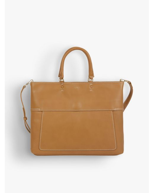 Agnes B. Yellow Ochre Topstitched Leather Small Bag