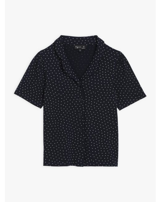 Agnes B. Navy Blue Polka Dots Ida Shirt