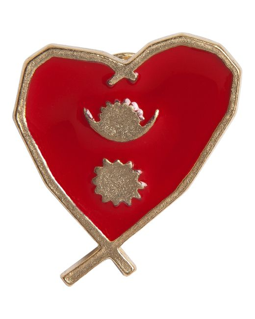 Agnes B. - Red Gold Heart Pin Népal - Lyst