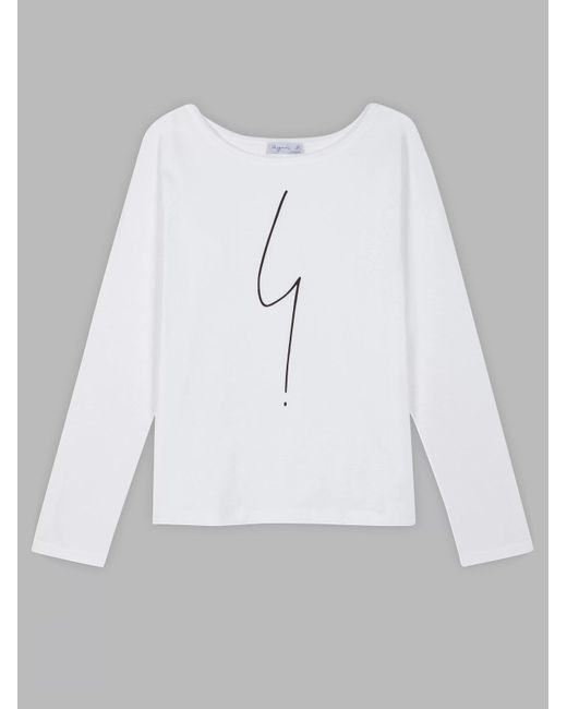 Agnes B. White Long Sleeves Irony Women's T-shirt