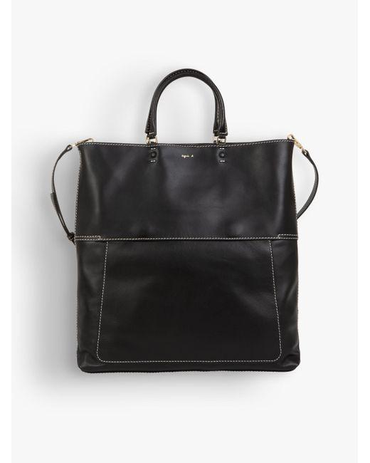 Agnes B. Black Topstitched Leather Bag