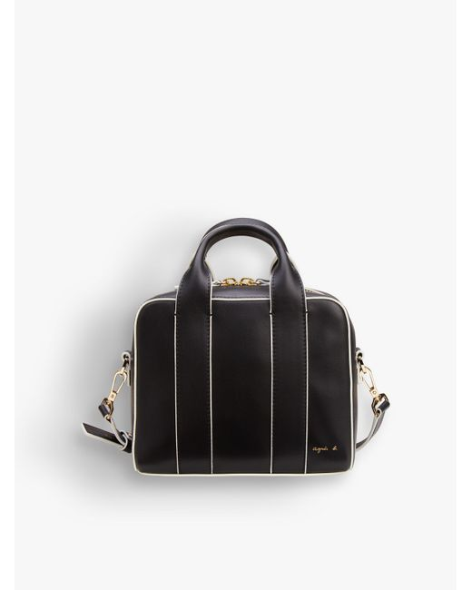 Agnes B. Black Leather Bag With White Piping
