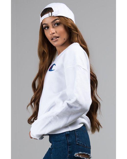 f691a978bb5 ... Champion - White Big C Logo Sweatshirt - Lyst ...
