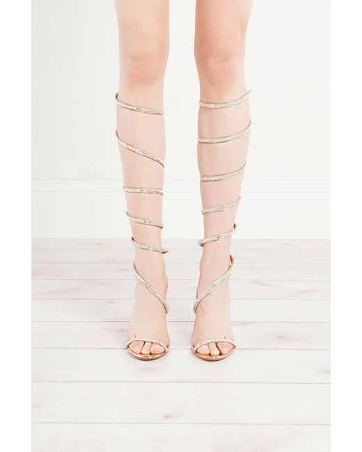 Akira | Pink All Legs Wrap Around Bling Heeled Sandals | Lyst