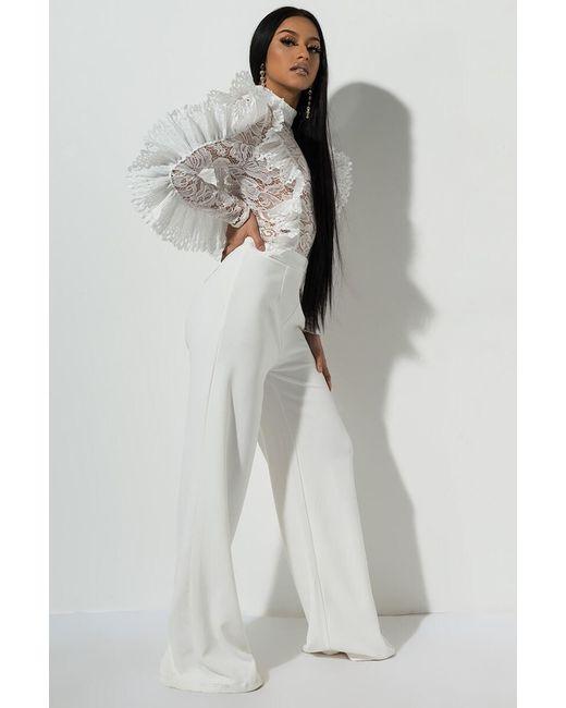 17c02b6e494 ... Akira - White Gala Ready EXAGGERATED Ruffle Jumpsuit - Lyst ...