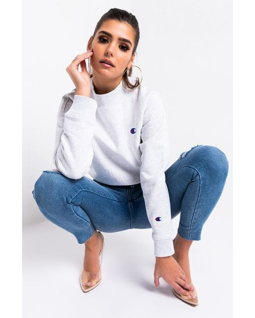 Champion Multicolor Womens Reverse Weave Mock Neck Crop Sweatshirt