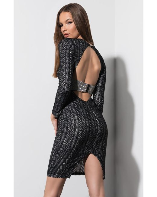 7f01efced9f ... Akira - Black Glitter Up Open Back Mini Dress - Lyst ...