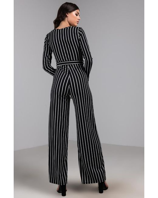 b70c7caea ... Akira - Black Love How I Move Striped Wide Leg Jumpsuit - Lyst ...