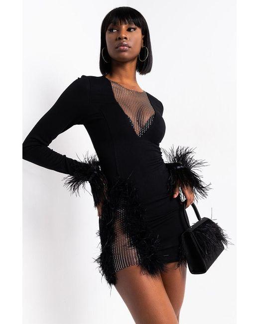Akira Black Mi Amor Feather Detail Mini Dress