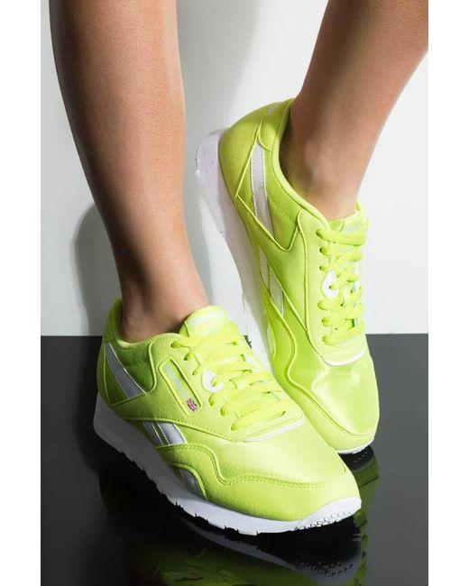 4240caeb591875 Reebok - Yellow Cl Nylon Neon Lime Sneaker - Lyst ...