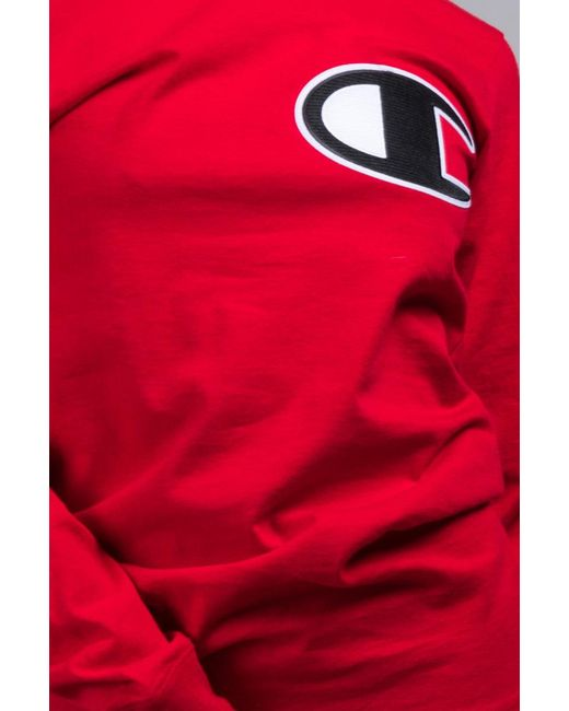 93b46a2a79e ... Champion - Red Unisex Heritage Long Sleeve Tee With Large C Logo - Lyst  ...