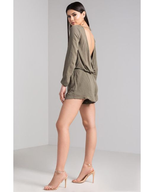 5d24aadd7916 ... Akira - Green Don t Have To Be Lonely Open Back Romper - Lyst