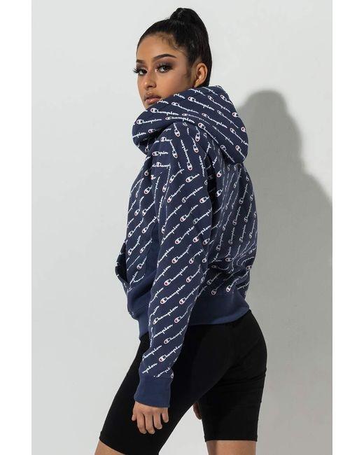 5770d94b ... Champion - Blue Reverse Weave All Over Diagonal Script Print Hoodie  Sweatshirt - Lyst ...
