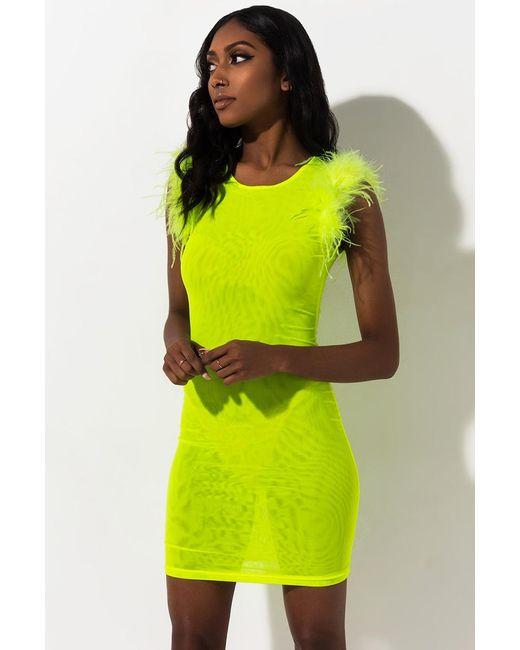 Akira Green Think I'm In Love Mesh Mini Dress