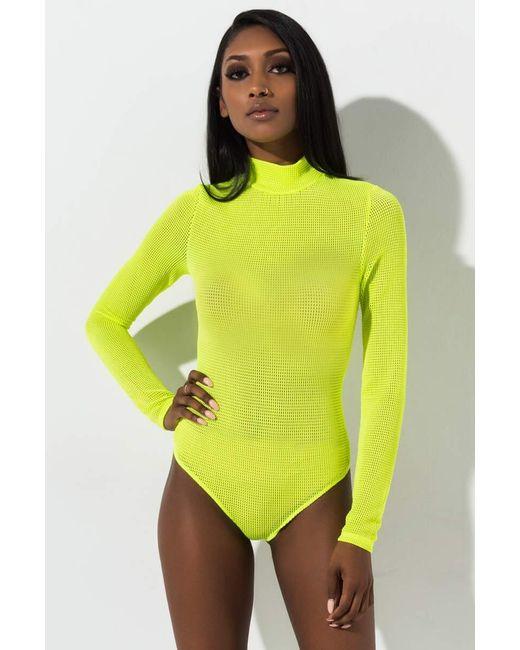 Akira Green Free Will Textured Mesh Mock Neck Long Sleeve Bodysuit