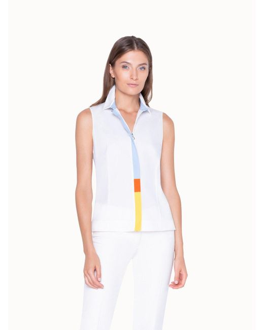 Akris White Sleeveless Blouse In Cotton With Multicolor Zipper