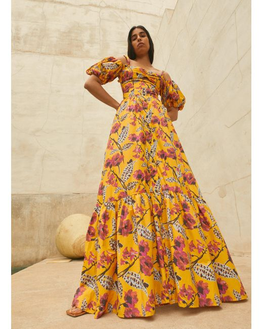 A.L.C. Yellow Lillie Printed Skirt