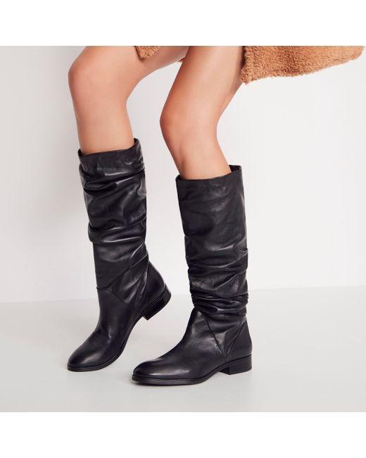 Ligodda No Heel High Leg Boots Black