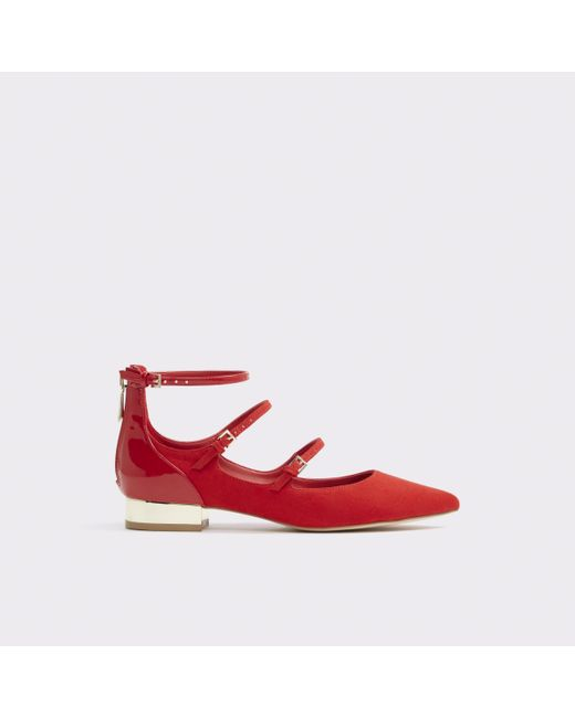 ALDO | Red Sindony Ankle Strap Flats | Lyst