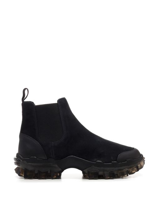 Moncler Black Suede Chelsea Boots for men
